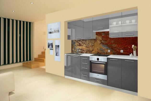 Rovná Mondeo - Kuchyňský blok E, 260 cm (šedá, lesk)