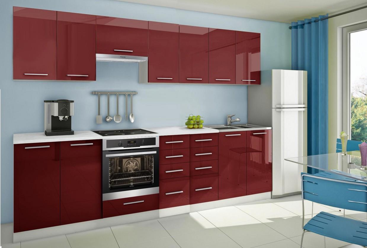 Rovná Mondeo - Kuchyňský blok E, 300 cm (červená, lesk)