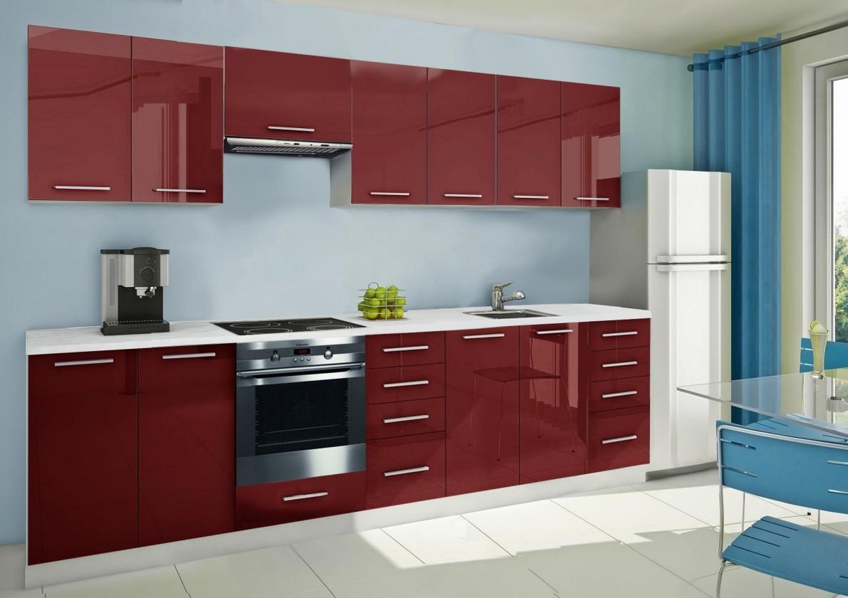 Rovná Mondeo - kuchyňský blok E 300 cm (pracovní deska - mramor)