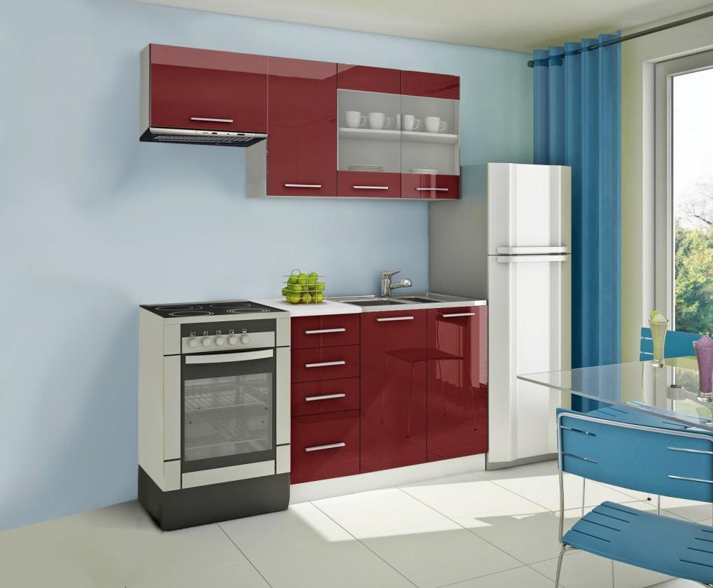 Rovná Mondeo - Kuchyňský blok F, 180 cm (červená, lesk)