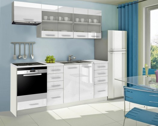 Rovná Mondeo - Kuchyňský blok F, 220 cm (bílá, lesk)