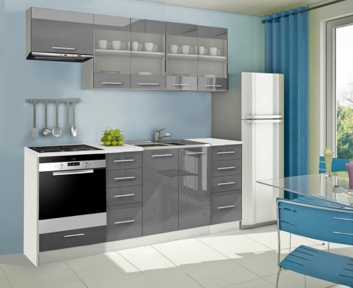Rovná Mondeo - Kuchyňský blok F, 220 cm (šedá, lesk)