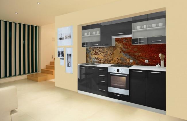 Rovná Mondeo - Kuchyňský blok F, 260 cm (černá, lesk)