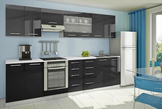 Rovná Mondeo - Kuchyňský blok F, 300 cm (černá, lesk)