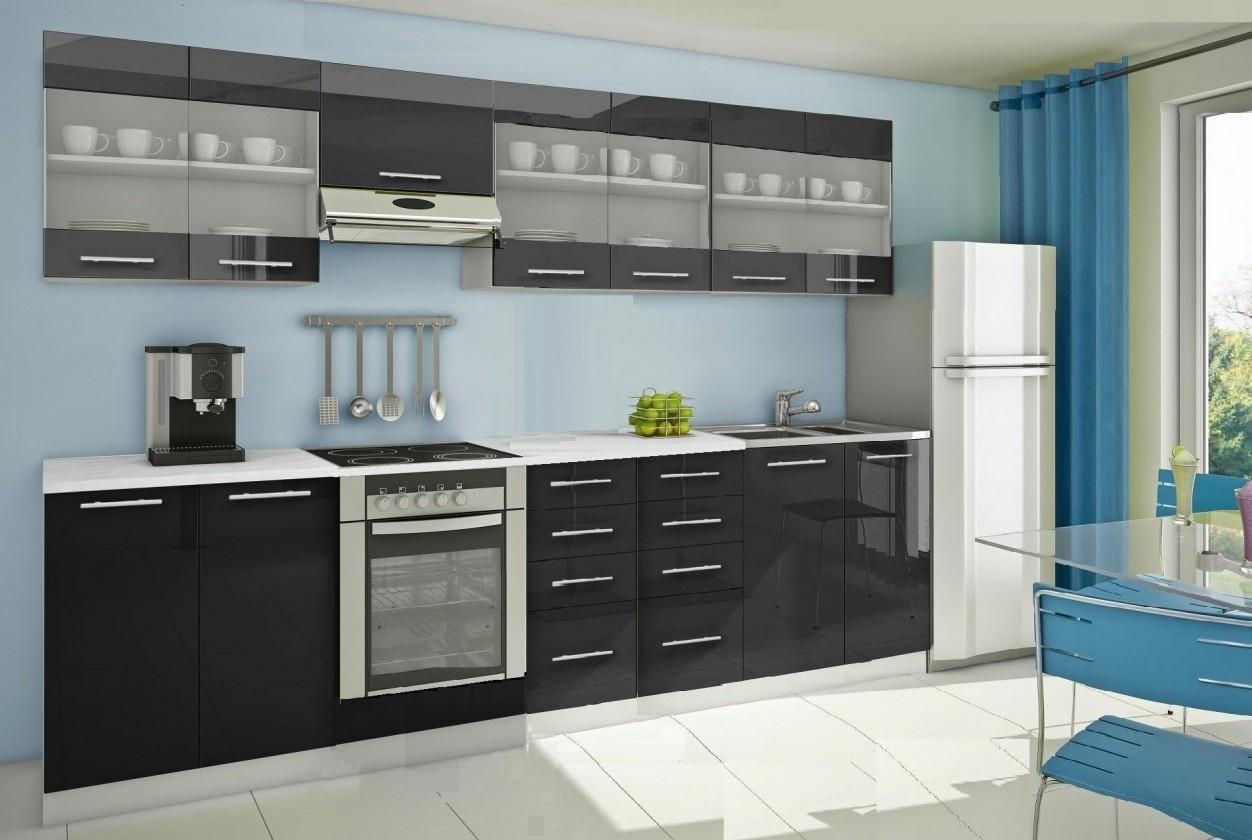 Rovná Mondeo - Kuchyňský blok H, 300 cm (černá, lesk)