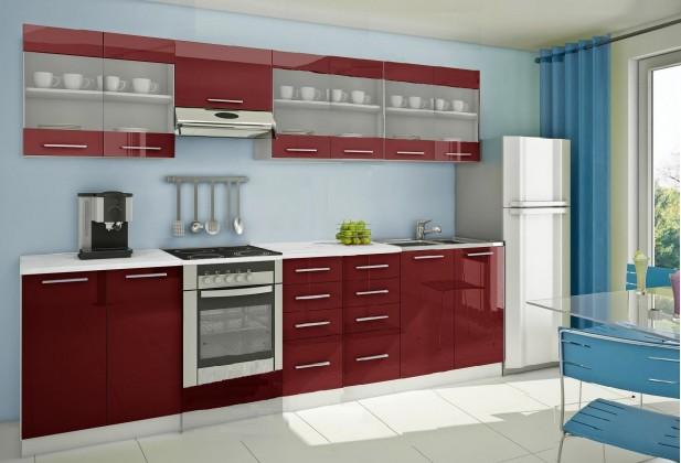 Rovná Mondeo - Kuchyňský blok H, 300 cm (červená, lesk)
