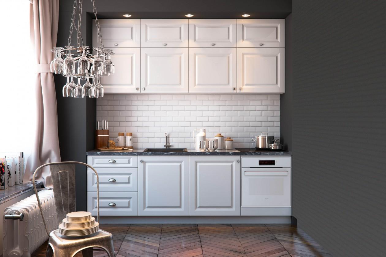 Rovné kuchyně Kuchyně Alina - 240 cm (bílá)