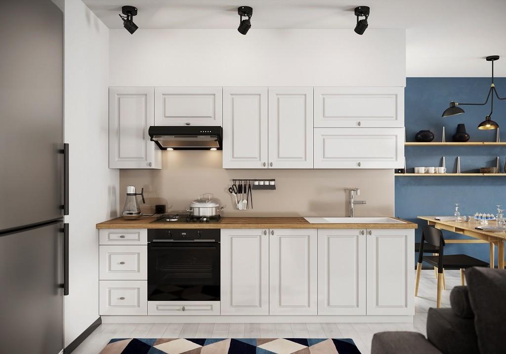 Rovné kuchyně Kuchyně Amelia 260 cm (bílá mat)
