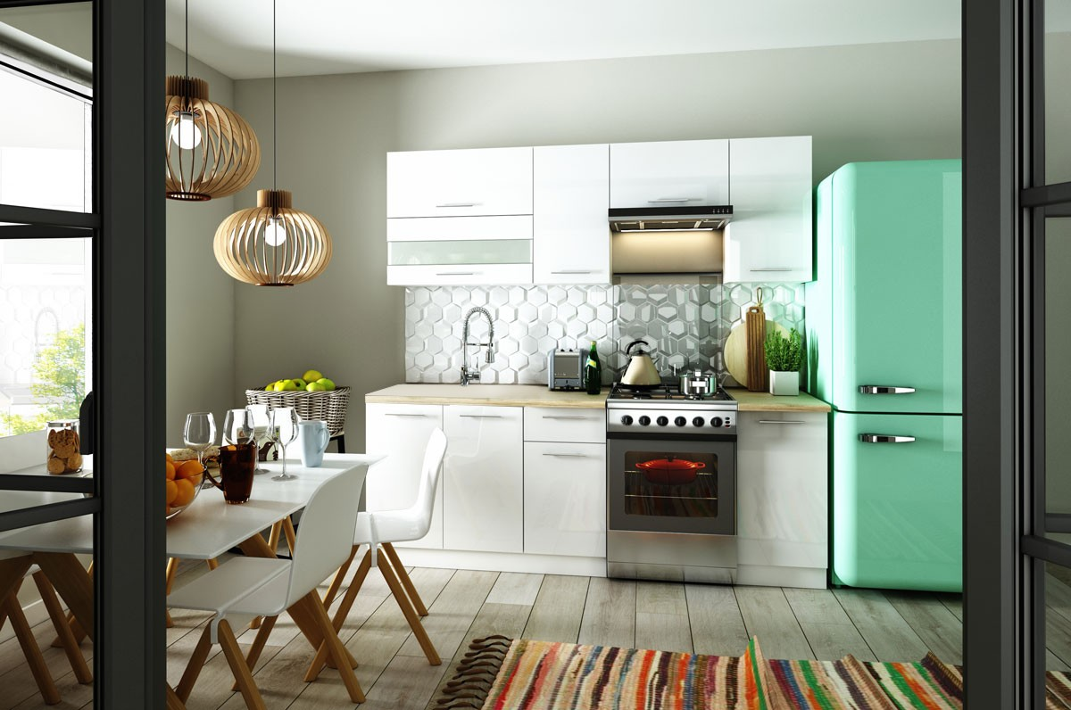 Rovné kuchyně Kuchyně Aurora - 220 cm (bílá vysoký lesk)