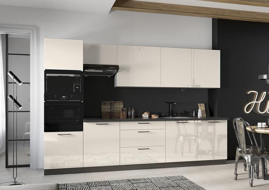 Rovné kuchyně Kuchyně Betty 320 cm (jasmín, lesk)