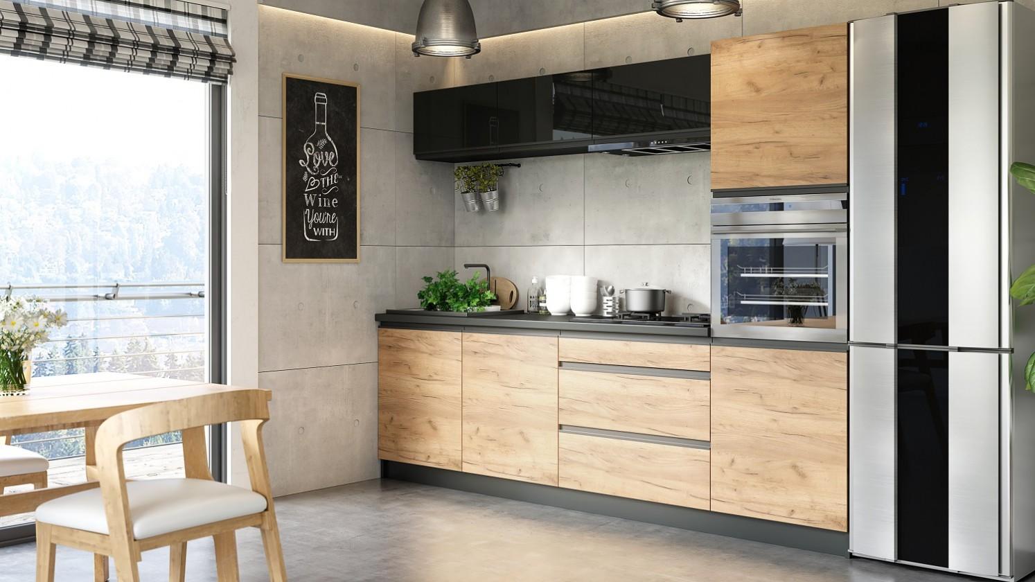 Rovné kuchyně Kuchyně Brick - 260 cm (černá vysoký lesk/craft)