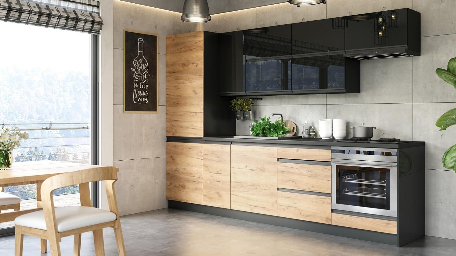 Rovné kuchyně Kuchyně Brick - 280 cm (černá vysoký lesk/craft)