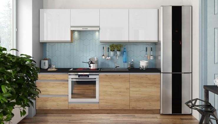 Rovné kuchyně Kuchyně Brick light 240 cm (bílá vysoký lesk/dub)