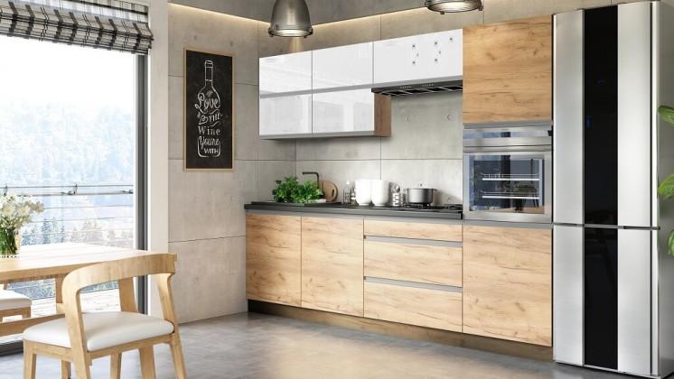 Rovné kuchyně Kuchyně Brick light 260 cm (bílá lesk/craft)