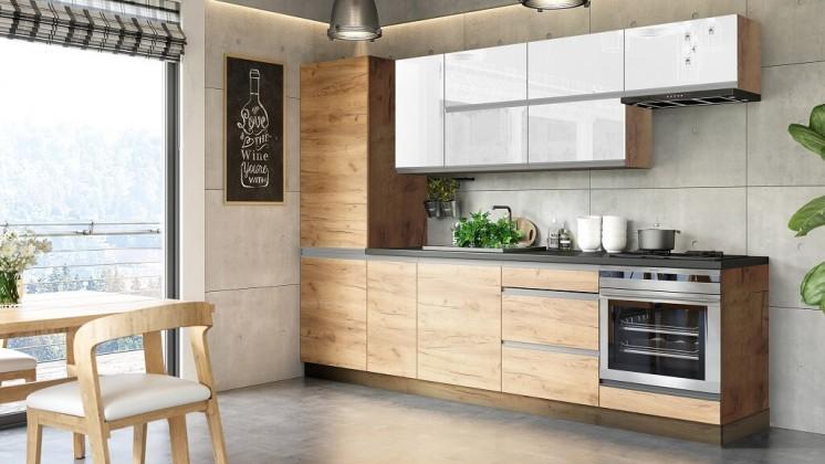 Rovné kuchyně Kuchyně Brick light 280 cm (bílá lesk/craft)
