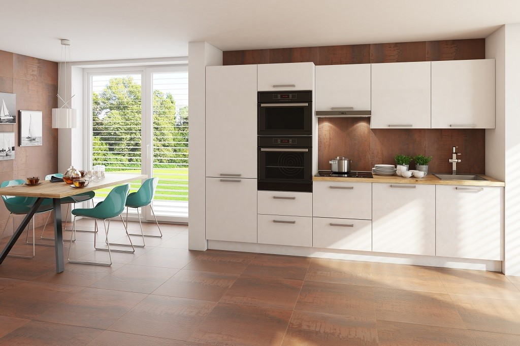 Rovné kuchyně Kuchyně Carlotta 300 cm (bílá lesk/dub wotan)