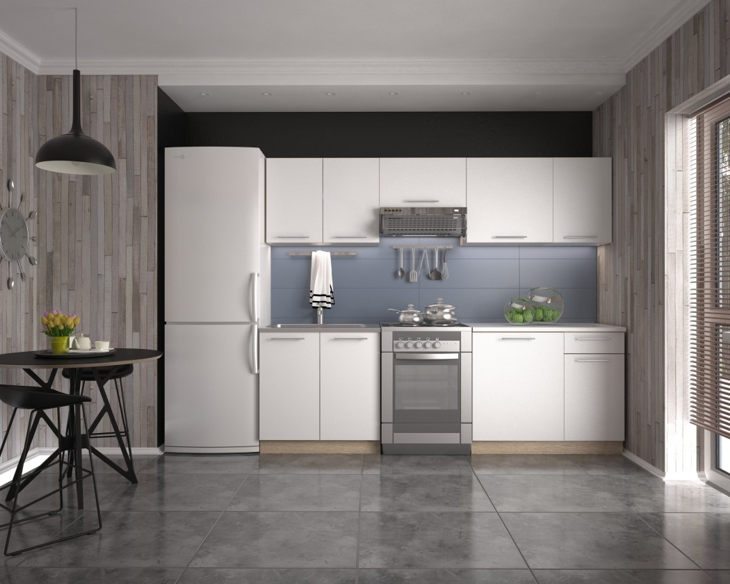 Rovné kuchyně Kuchyně Daria - 240 cm (bílá/dub sonoma)