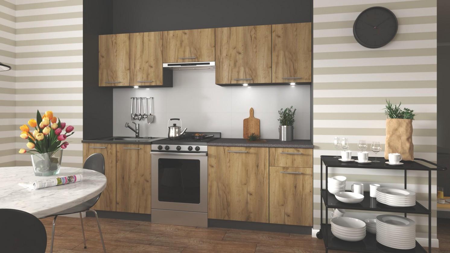 Rovné kuchyně Kuchyně Daria - 240 cm (dub wotan/šedá)