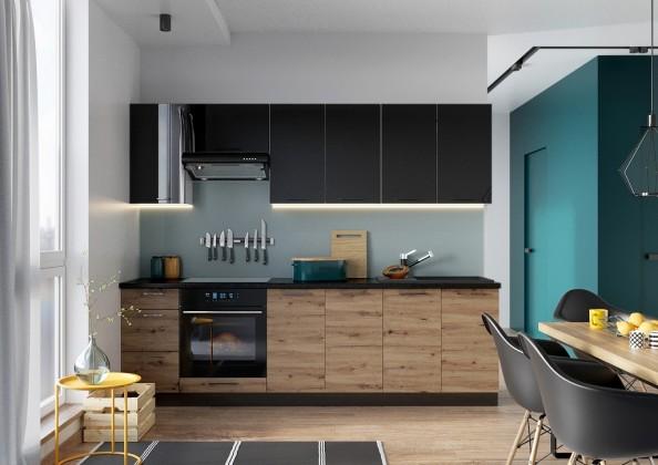 Rovné kuchyně Kuchyně Dixie 260 cm (černá/dub)