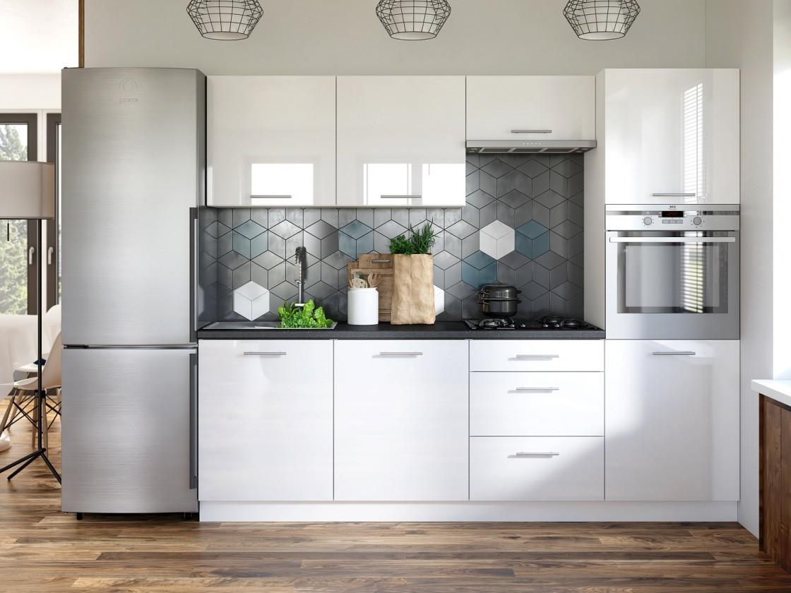 Rovné kuchyně Kuchyně Emilia - 240 cm (bílá vysoký lesk/travertin tmavý)