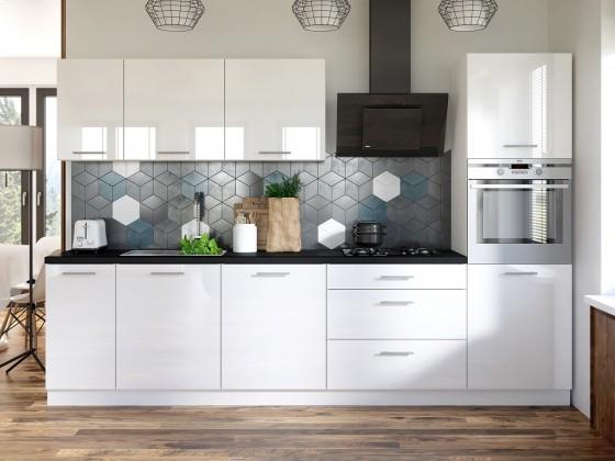 Rovné kuchyně Kuchyně Emilia - 300 cm (bílá vysoký lesk/černá)