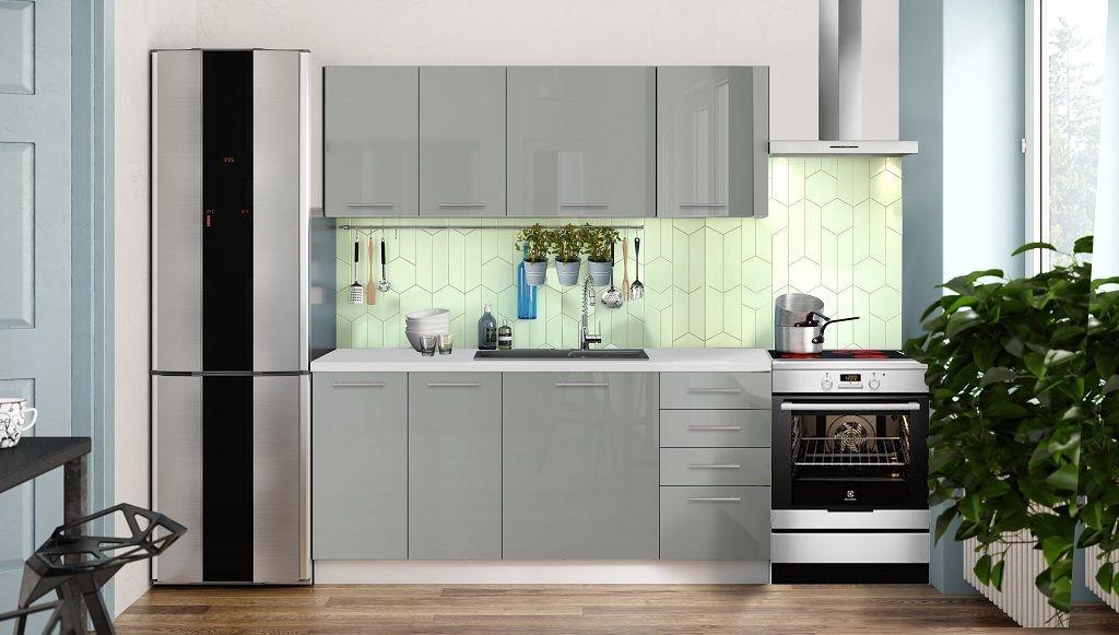 Rovné kuchyně Kuchyně Emilia Lux 180 cm (šedá lesk)