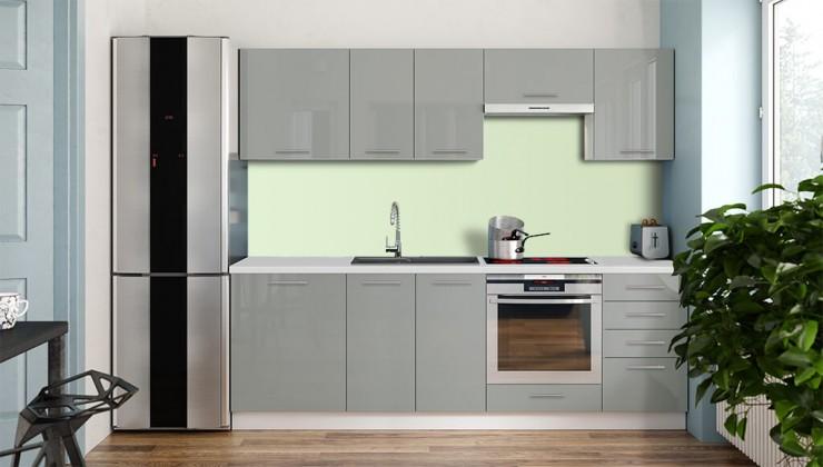 Rovné kuchyně Kuchyně Emilia Lux - 240 cm (šedá vysoký lesk)