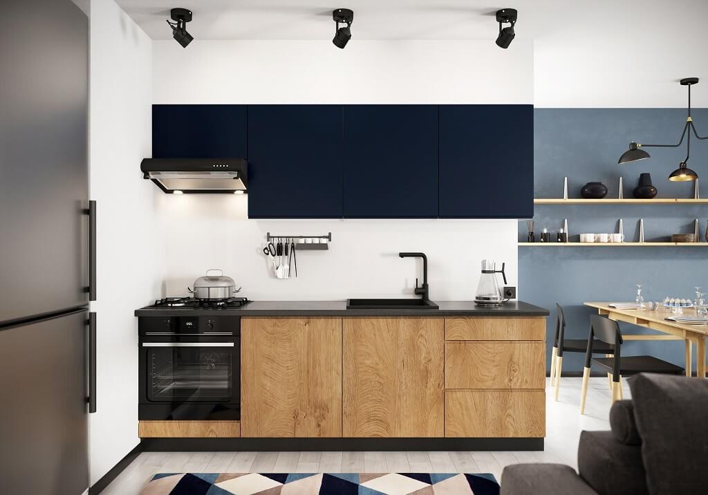 Rovné kuchyně Kuchyně Leya 240 cm (modrá mat/dřevo)