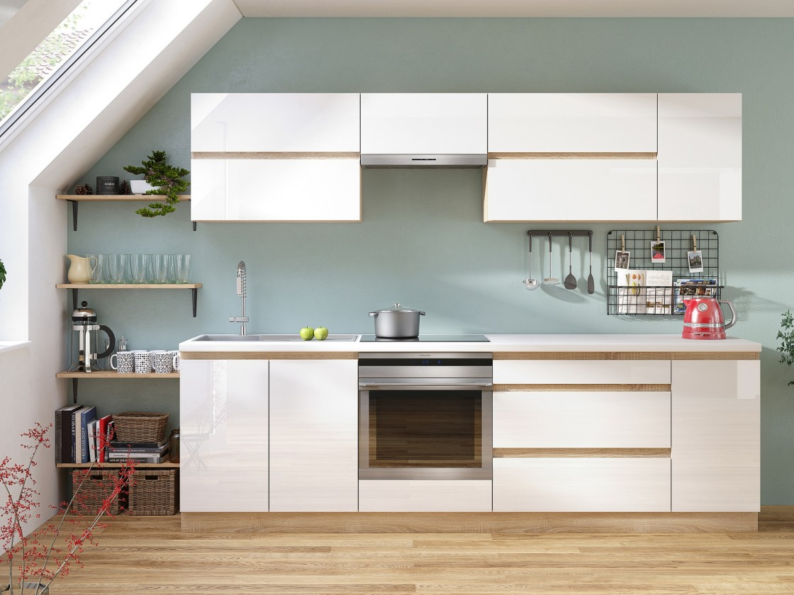 Rovné kuchyně Kuchyně Line - 260 cm (bílá vysoký lesk/dub sonoma)