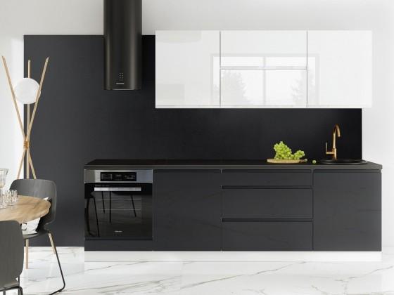 Rovné kuchyně Kuchyně Marsala - 260 cm (bílá vysoký lesk/šedá vysoký lesk)