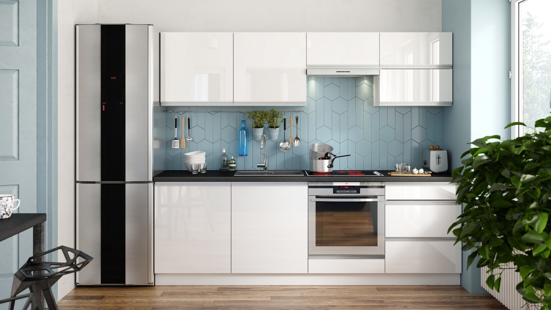 Rovné kuchyně Kuchyně Maya - 240 cm (bílá vysoký lesk)