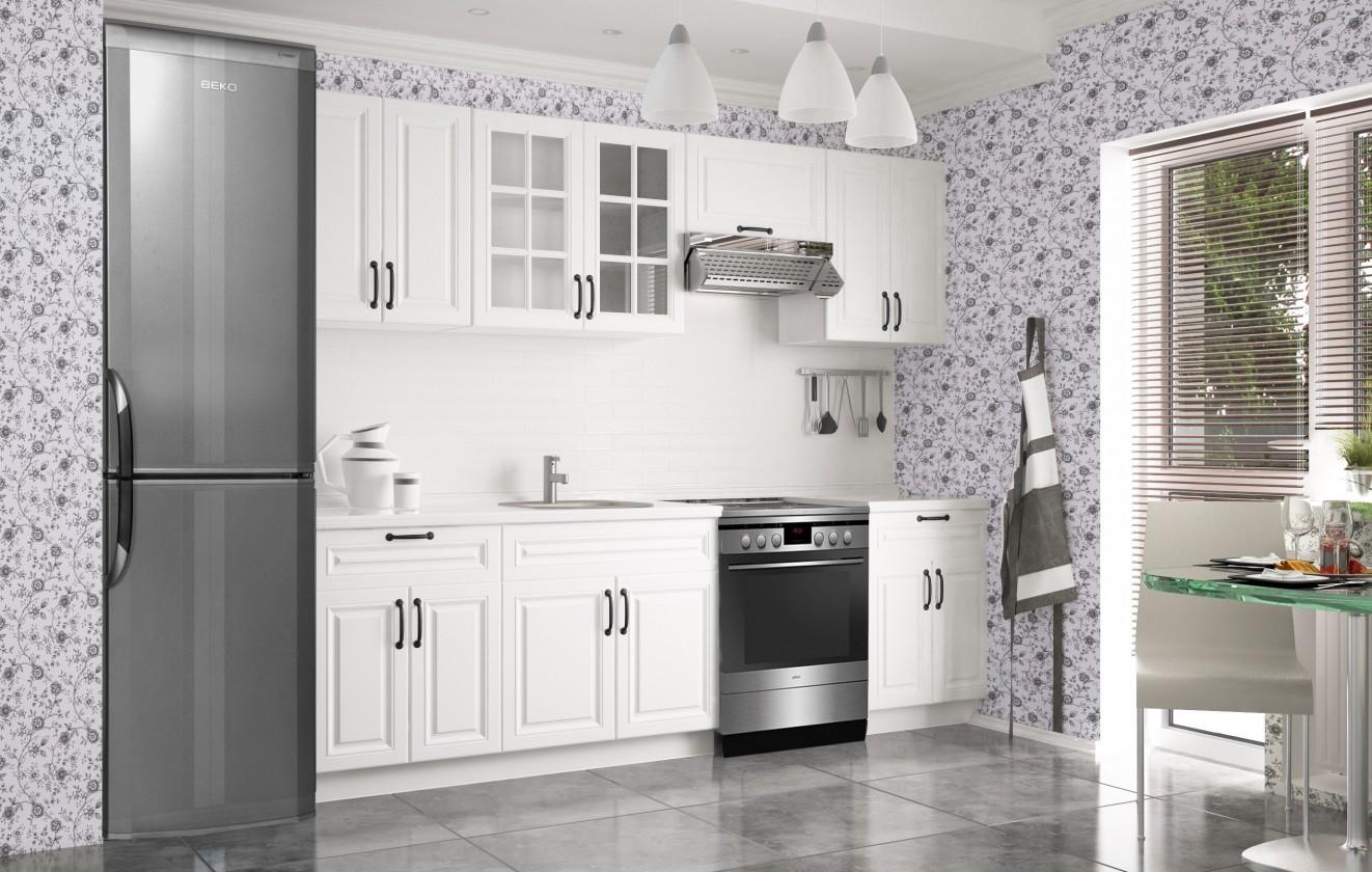 Rovné kuchyně Kuchyně Michelle - 260 cm (bílá)