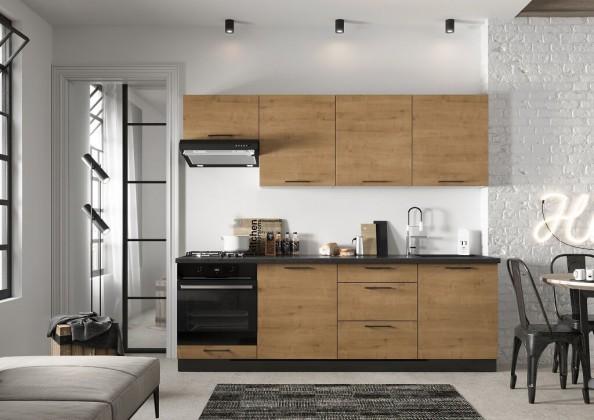 Rovné kuchyně Kuchyně Natali 240 cm (dub lefkas)