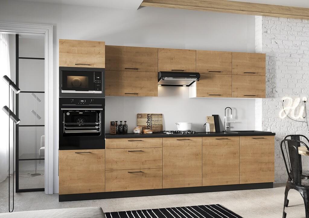 Rovné kuchyně Kuchyně Natali 320 cm (dub lefkas)