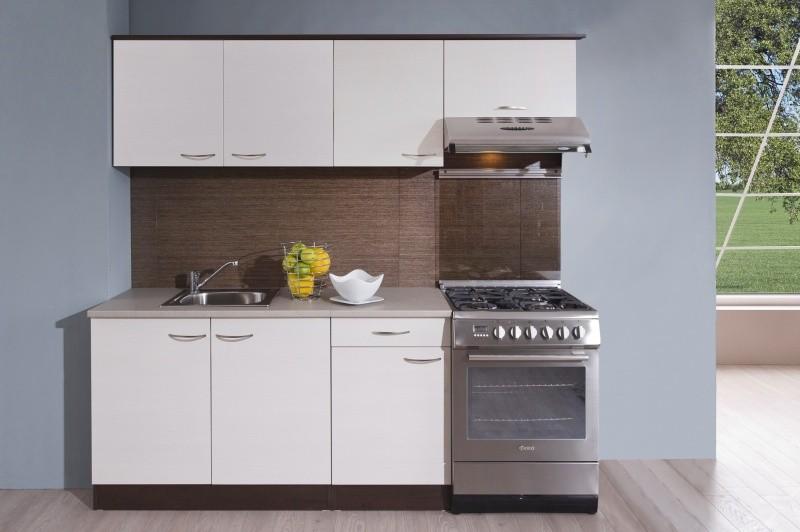 Rovné kuchyně Kuchyně Nina - 210 cm (woodline creme/dub tmavý)