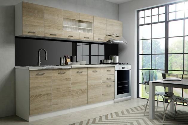 Rovné kuchyně Kuchyně Perla - 260 cm (dub sonoma/bílá)