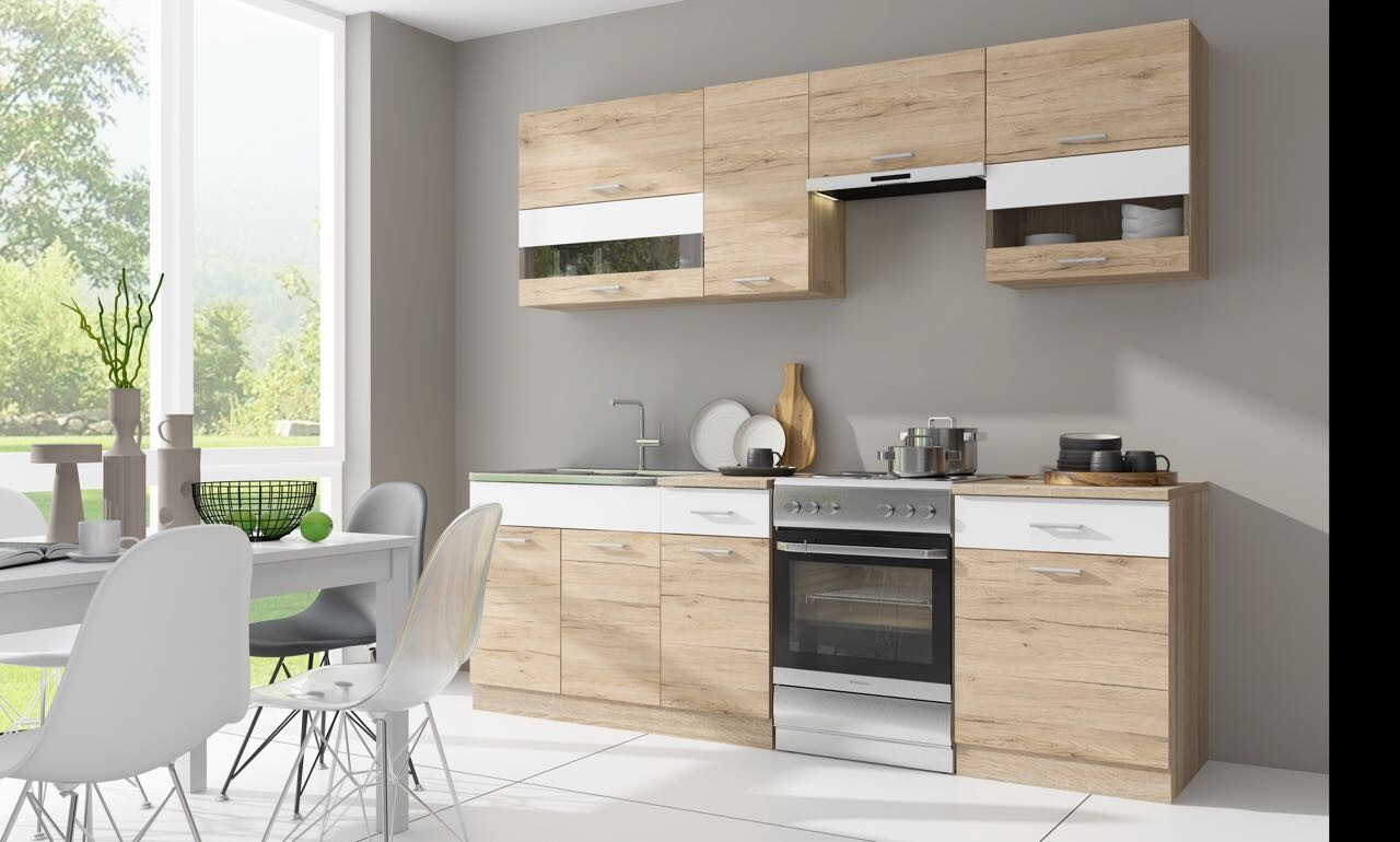 Rovné kuchyně Kuchyně Rio - 240 cm (dub san remo/bílá)