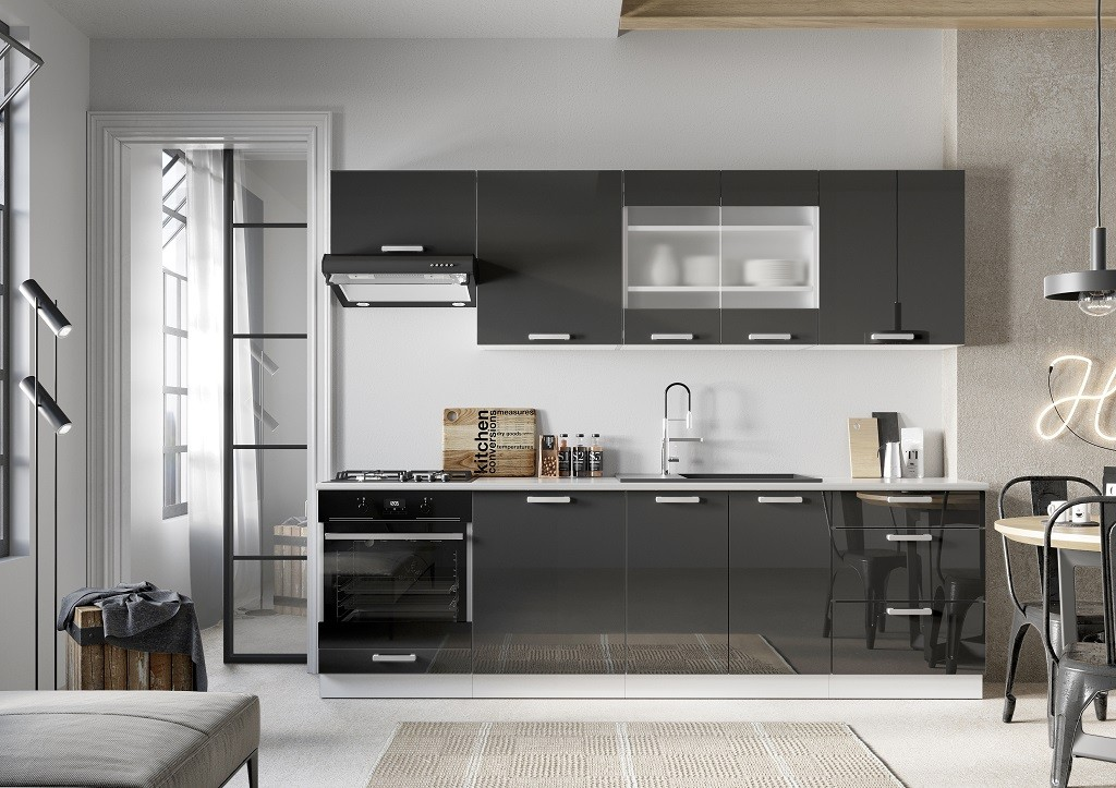 Rovné kuchyně Kuchyně Vicky 260 cm (šedá lesk)