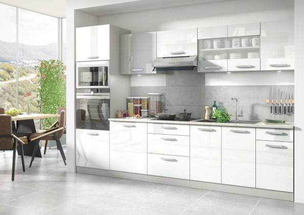 Rovné kuchyně Kuchyně Vicky - 300 cm (bílá vysoký lesk)