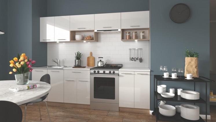 Rovné kuchyně Kuchyně Viola - 260 cm (bílá/dub sonoma)