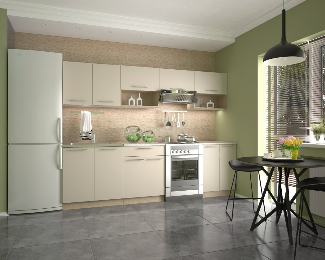Rovné kuchyně Kuchyně Viola - 260 cm (vanilka/dub sonoma/bílá)
