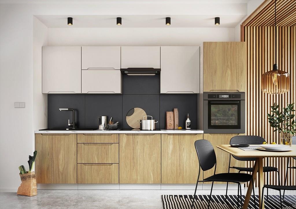 Rovné kuchyně Kuchyně Zoya 300 cm (šedá/dřevo)