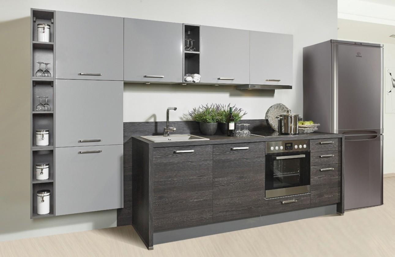Rovné kuchyně Misano - Kuchyně 280/320cm (šedá, dub černý)