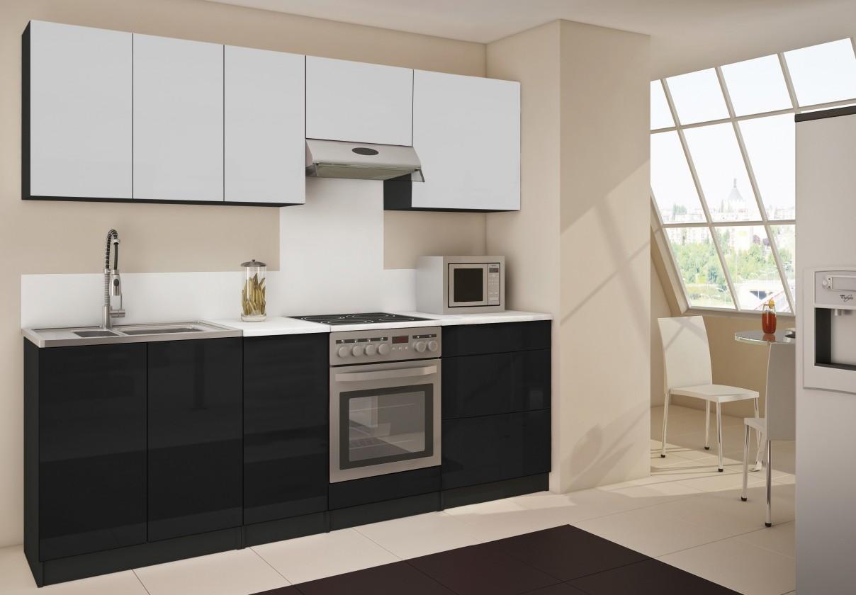 Rovné kuchyně Polo 14 - Kuchyňský blok (bílá / černá HG / bílá HG)