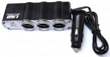 Rozbočovač pro autozapalovač 3x12V + USB port