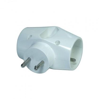 Rozbočovací zásuvka Emos P0023, 1xplochá, 2xkulatá, bílá