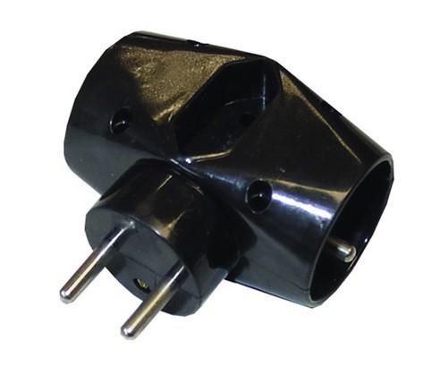 Rozbočovací zásuvka Solight P92, 1x plochá, 2xkulatá, černá