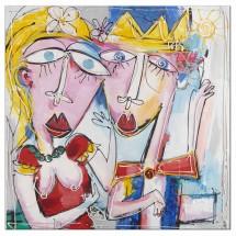 Ručně malovaný obraz Couple (100x100 cm)