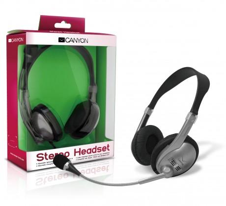 S mikrofonem Canyon headset CNR-HS01N černý stříbrný