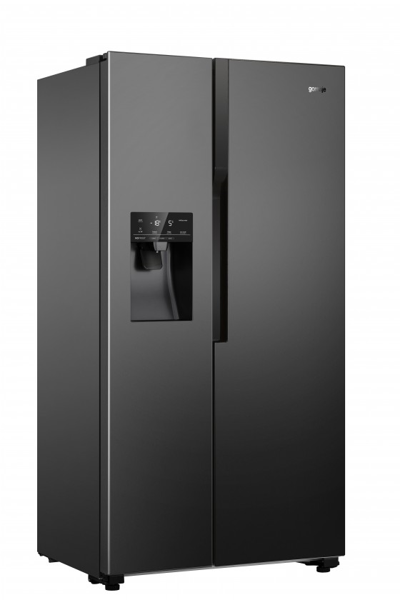 S mrazákem dole Americká lednice Gorenje NRS9182VB,A++,černá